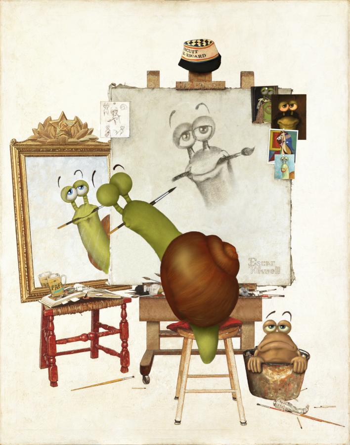 Triple autoportrait d'Escargolio